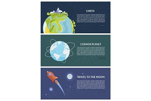 Earth Cosmos Planet Travel to Moon Concept.