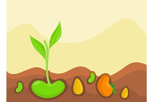 Plants Growing under Ground Vector Illustration