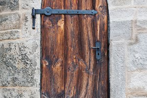 Wooden medieval castle doors