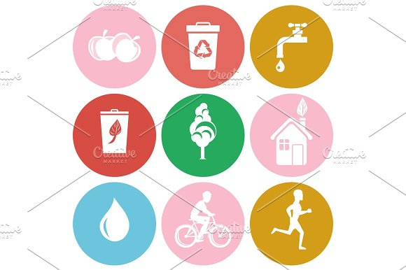 Ecology And Health Protection Isolated Round Icons