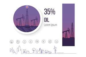 Oil Industry 35 Percent, Poster with Icons Vector