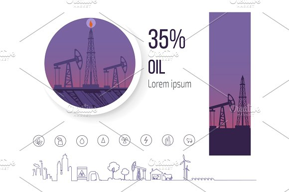 Oil Industry 35 Percent Poster With Icons Vector