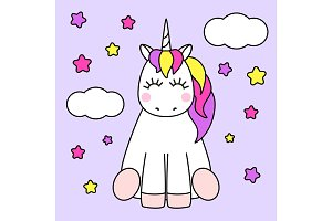 Cute childish cartoon character as magic rainbow hair unicorn