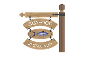 Restaurant Seafood Advertisement on Wooden Boards