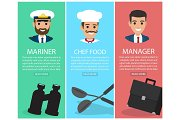 Three Upright Images of Professions with Equipment