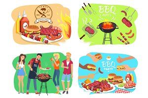 Barbecue Party with Roasted Meet Illustrations Set