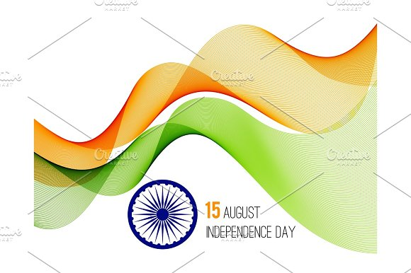 Indian Independence Day Concept Background With Ashoka Wheel Vector Illustration