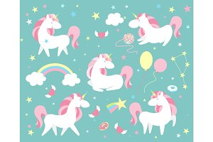 Unicorn character set. Cute magic collection with unicorn, rainbow, heart ,fairy wings and balloon. Catroon style vector illustration