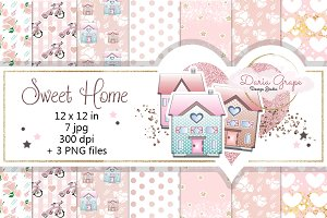 "Digital Paper ""Sweet Home"""
