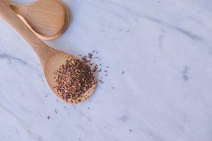 Tea Rooibos and wood spoon