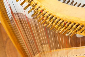 Celtic harp view from top
