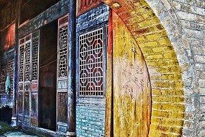 Old China, rural brick farmhouse