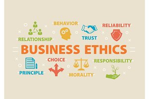 Business Ethics. Concept with icons.