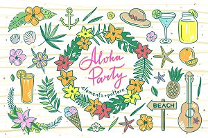 Aloha Party Illustrations+Pattern