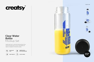 Clear Water Bottle Mockup Set