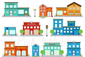 Fire Station & Police Clipart Vector