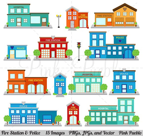 Fire Station Police Clipart Vector