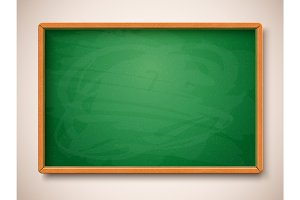Green chalkboard. Vector illustration