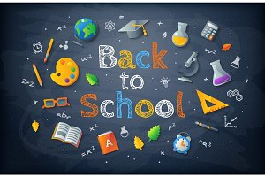 Black chalkboard with Back to school drawing lettering