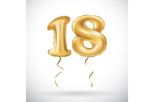 number 18 eighteen metallic balloon