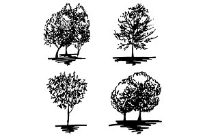 Monochrome tree sketch vector set