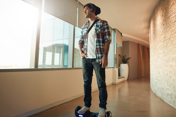 Young man on a hover board