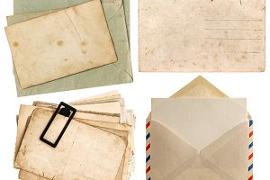 envelope air mail and postcards