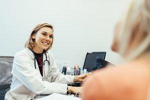 Female doctor listening