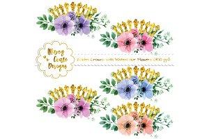 Golden Crowns & Watercolor Flowers