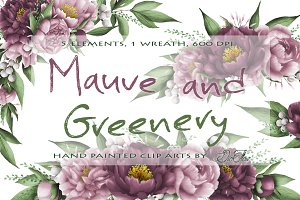 Mauve And Greenery Clip Art