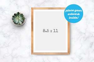 Golden Frame Mockup on Marble