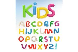3d plastic font, vector set