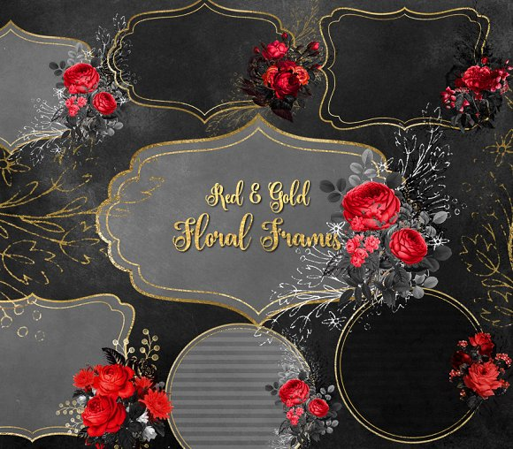 Red And Gold Floral Frames