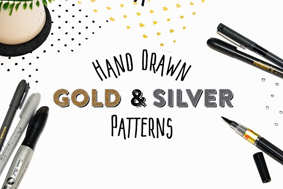 15 Hand Drawn Gold Silver Patterns