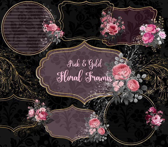 Pink And Gold Floral Frames Graphic Objects Creative Market