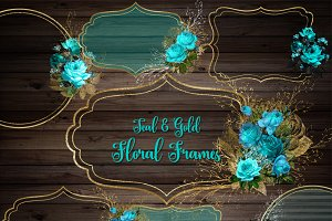 Teal and Gold Floral Frames