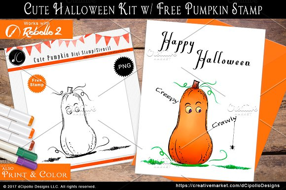 Cute Halloween Kit W FREE Stamp