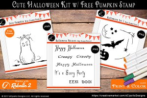 Cute Halloween Kit w/ FREE Stamp