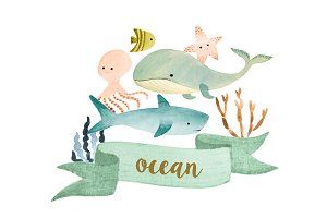 Ocean watercolor creatures