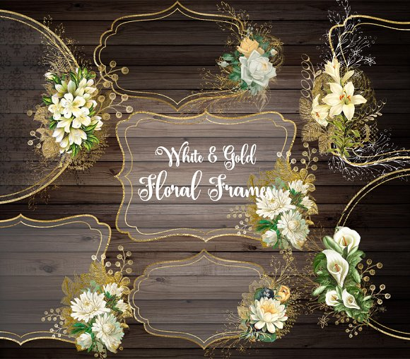 White And Gold Floral Frames