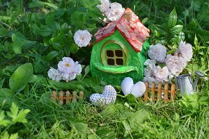 Cute house with roses