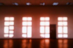 Warm room with multiple windows bokeh