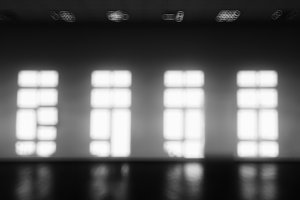 Horizontal black and white bokeh background