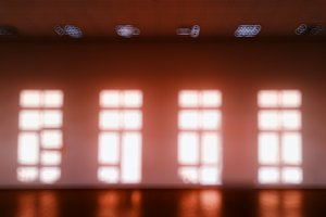 Warm room with multiple windows bokeh