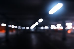 Horizontal car parking bokeh background