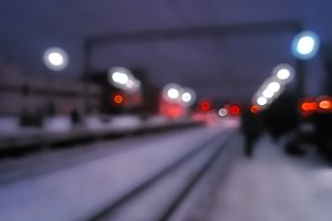 Diagonal railway track bokeh background