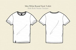 Men White Round Neck T-shirt