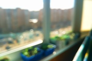 Sunny day balcony bokeh background