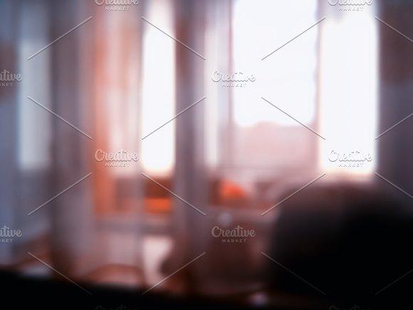 Indoor Evening Window Bokeh Background