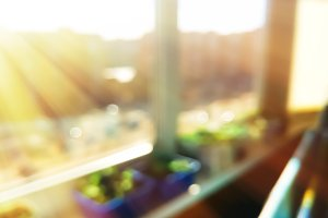 Light leak on sunny day balcony bokeh background